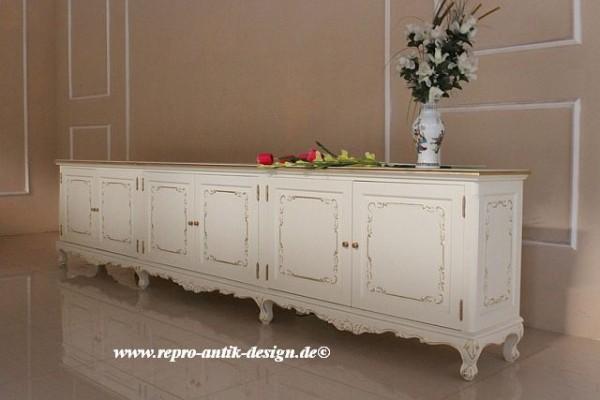 Barock Kommode Sideboard, Repro-Antik-Design, Mahagoni Massiv Holz ausgefallen weiß mit Goldgriffen