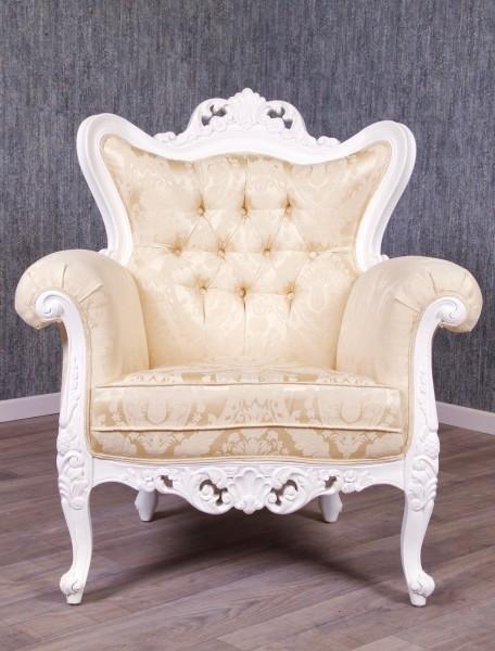 Barock Sessel Polstermöbel, Repro-Antik-Design, Mahagoni massiv Holz, weiß, Stoffbezug mit Ornamenten, aufwendige Holzschnitzerei