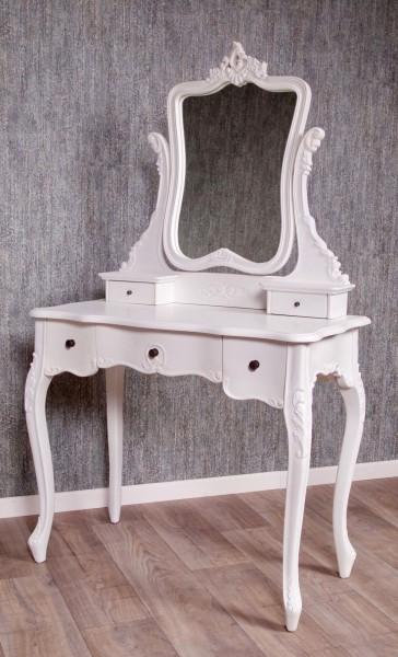 Barock Tisch Schminktisch, Repro-Antik-Design, Mahagoni massiv holz, weiß lackiert mit Schubladen und Spiegelaufbau, ausgefallen exclusive