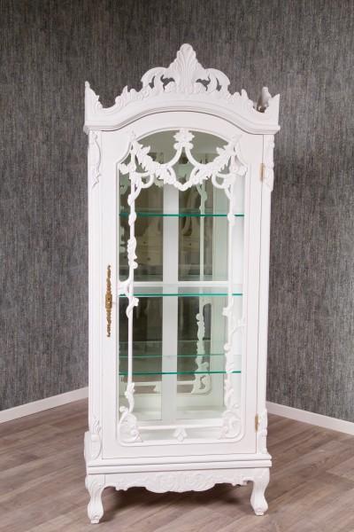 Barock Vitrine, 1-türig,Glas, lackiert in weiß ,Repro-Antik-Design, Mahagoni massiv holz , aufwendige Holzschnitzerei