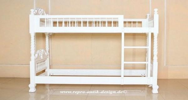 Barock Babybett Kinderbett Hochbett  Gitterbett, Repro-Antik-Design, ausgefallen exklusive lackiert in weis