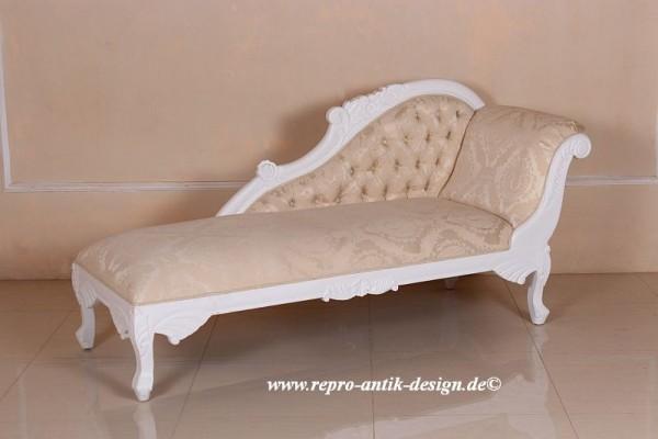Barock Sofa Recamiere , Repro-Antik-Design, Mahagoni massiv Holz weiß aufwendige Holzschnitzerei  creme Stoffbezug Ornamente
