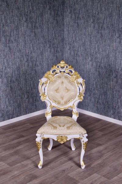 Barock Stuhl Minerva lackiert in Antik-weiß mit starkem gold Dekor und weißem Kunstleder,Repro-Antik-Design