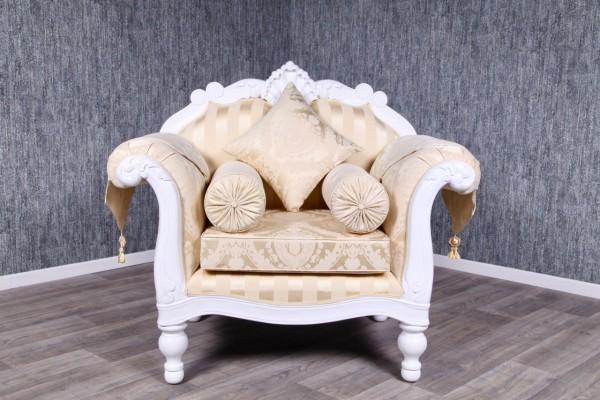 Barock Sessel, Repro-Antik-Design, mahagoni massiv holz, lackiert in weiß