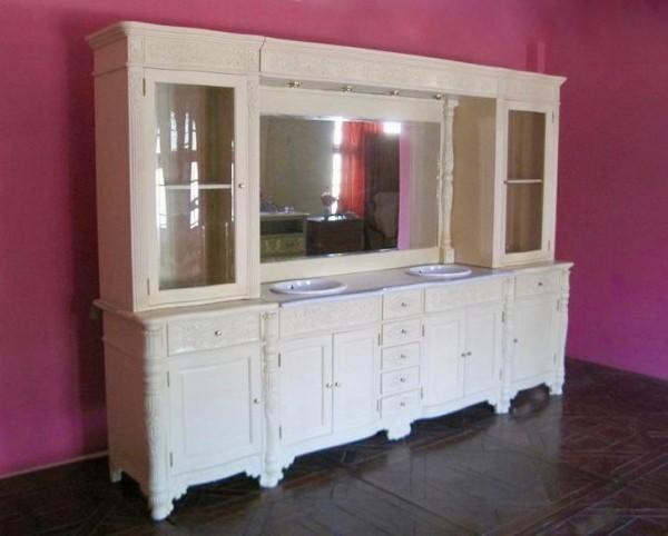 Barock Doppel Waschtisch VDV in creme-weiß mit Spiegel und hellgrauer Marmorplatte Repro-Antik-Design  Mahagoni massiv Holz