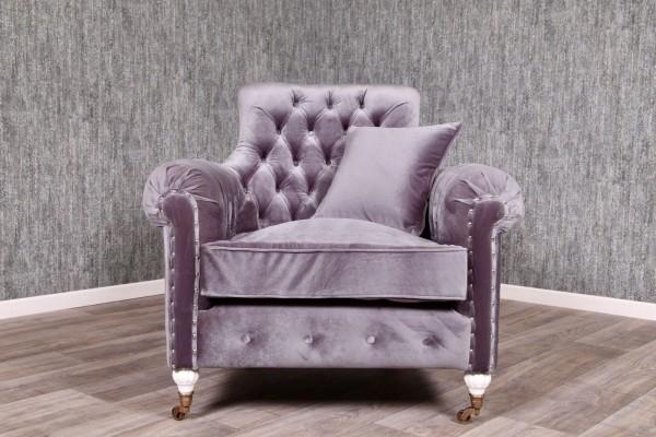 Barock Sessel, Repro-Antik-Design, Mahagoni massiv holz, Silbernieten, weiße Füße, Stoffbezug samt grau taupe.