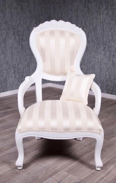 Barock Sessel Polstermöbel, Repro-Antik-Design, Mahagoni massiv Holz, weiß, Stoffbezug gestreift gold beige creme weiß , aufwendige Holzschnitzerei