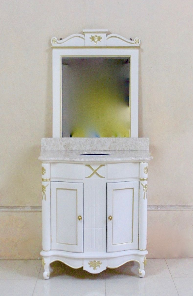 barock waschtisch larissa wei mit gold dekor und spiegel. Black Bedroom Furniture Sets. Home Design Ideas