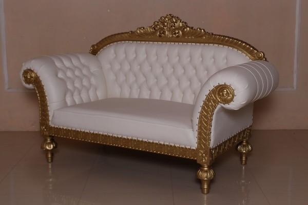 Barock Sofa 2-Sitzer, Repro-Antik-Design, Mahagoni massiv holz  aufwendige Holzschnitzerei gold,weiß Kunstleder