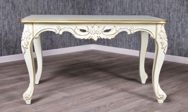 Barock Tisch Couchtisch, Repro-Antik-Design Mahagoni massiv holz creme gold dekor, aufwendige Holzschnitzerei