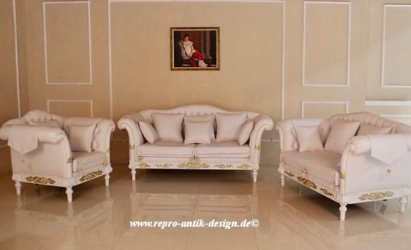 Barock Sofa Garnitur, Repro-Antik-Design, Mahagoni Massiv Holz,Gold Dekor