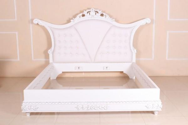 Barock Bett Calantha, weiß mit silber Dekor, Repro-Antik-Design, Mahagoni massiv Holz ausgefallen exclusive