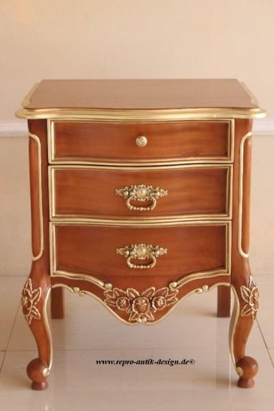 Barock Nachttisch , Repro-Antik-Design, Mahagoni Massiv Holz ausgefallen mit Goldgriff  exclus