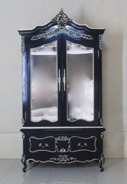 Barock Schrank Kleiderschrank 2-türig mit Spiegel, Repro-Antik-Design, Mahagoni massiv holz, gold Beschläge,schwarz lackiert,ausgefallen, mit aufwendiger Holz schnitzerei.