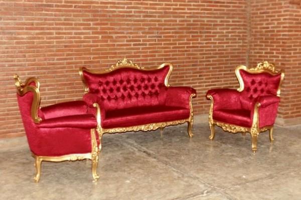 Barock Sofa Sessel Garnitur 3er Set, Repro-Antik-Design, Mahagoni massiv holz aufwendige Holzschnitzerei gold rot Stoffbezug