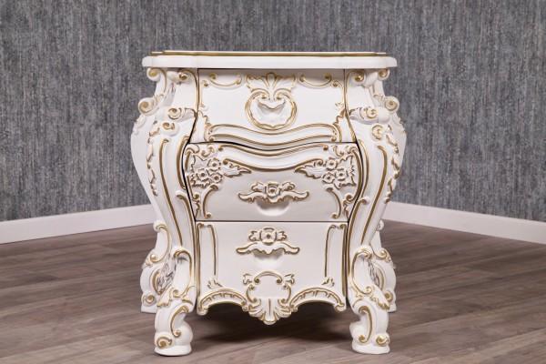 Barock Nachttisch, Repro-Antik-Design, Mahagoni Massiv Holz ausgefallen weiß gold exclusive.