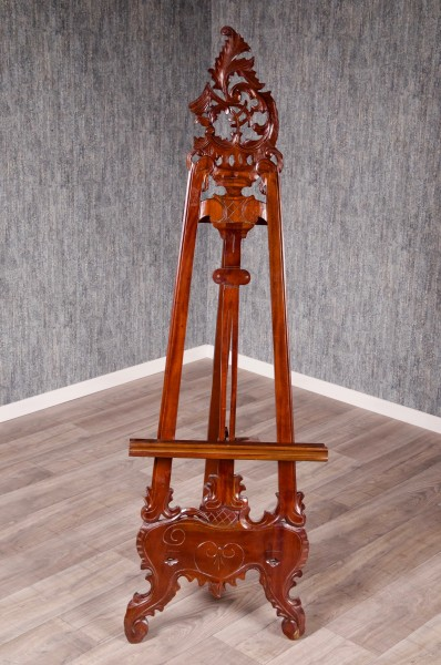 Barock Möbel, Malstaffelei, Repro-Antik-Design, Mahagoni massiv Holz, gebeizt in Nussbraun Holzschnitzerei
