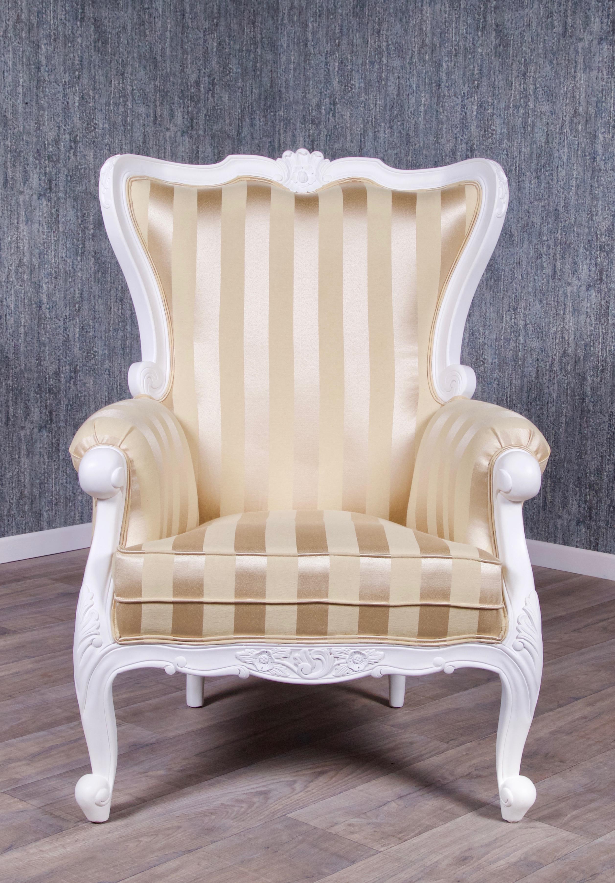 Barock Sessel Knospe in weiß Sessel