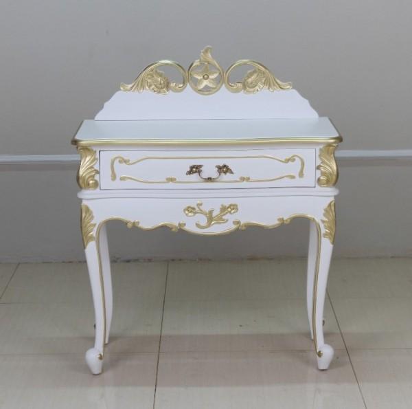 Barock Nachttisch Valbonne, Repro-Antik-Design, Mahagoni Massiv Holz ausgefallen weiß mit Goldgriff  exclusive