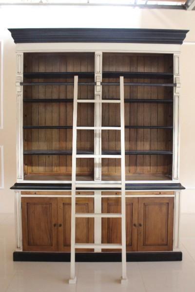 Barock Bücherregal, Repro-Antik-Design, mahagoni massiv holz, weiß schwarz braun