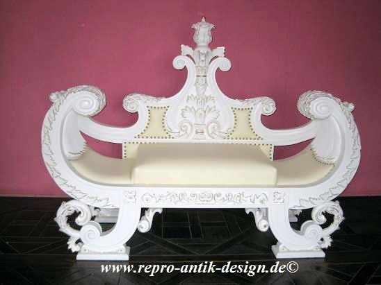 Barock carved boat sofa, Repro-Antik-Design, Mahagoni massiv Holz