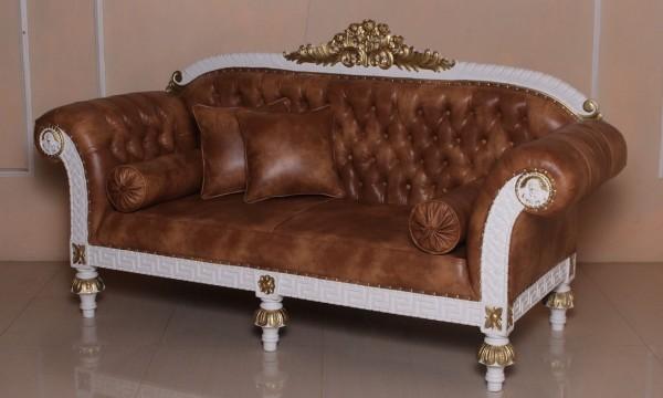 Barock Sofa 3-Sitzer, Repro-Antik-Design, Mahagoni massiv holz  aufwendige Holzschnitzerei gold weiß,braunes Kunstleder mit Goldnieten