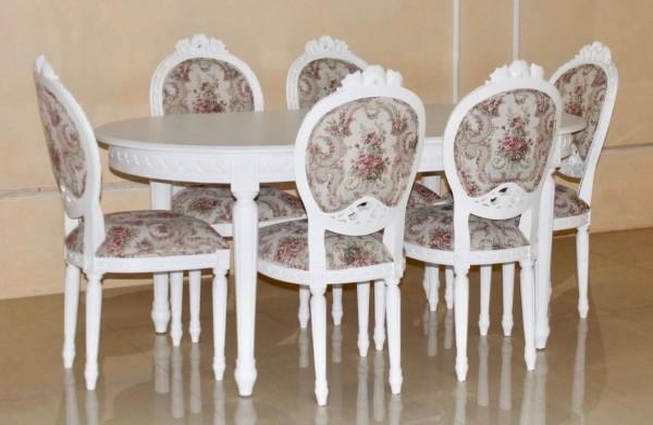 barock esszimmer garnitur pedestrian oval antik wei 1 tisch mit 6 st hlen. Black Bedroom Furniture Sets. Home Design Ideas