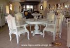 Barock Esszimmer Stuhl Tisch Garnitur Polstermöbel, Repro-Antik-Design,Mahagoni massiv Holz, weiß, aufwendige Holzschnitzerei
