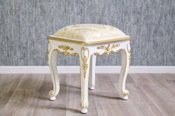 Barock Schminkhocker Stuhl , Repro-Antik-Design, Mahagoni massiv holz, gold weiß, aufwendige Holzschnitzerei, ausgefallen