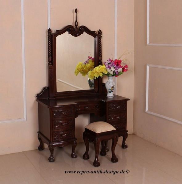 Barock Schminktisch mit Spiegel, Repro-Antik-Design, Mahagoni massiv holz, braun, aufwendige Holzschnitzerei, ausgefallen