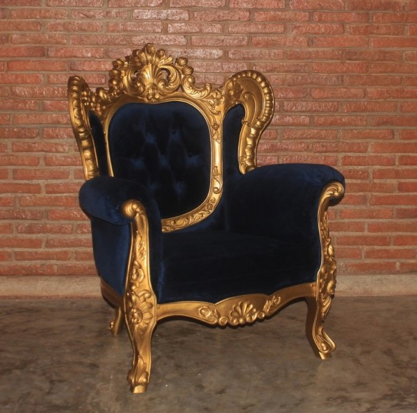 Barock Sessel, Repro-Antik-Design, Mahagoni massiv holz  aufwendige Holzschnitzerei blattgold, blauer bezug