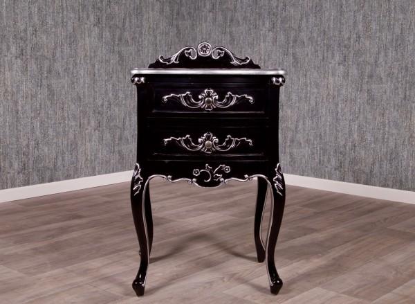 Barock Nachttisch, Repro-Antik-Design, Mahagoni Massiv Holz ausgefallen schwarz silber exclusive.