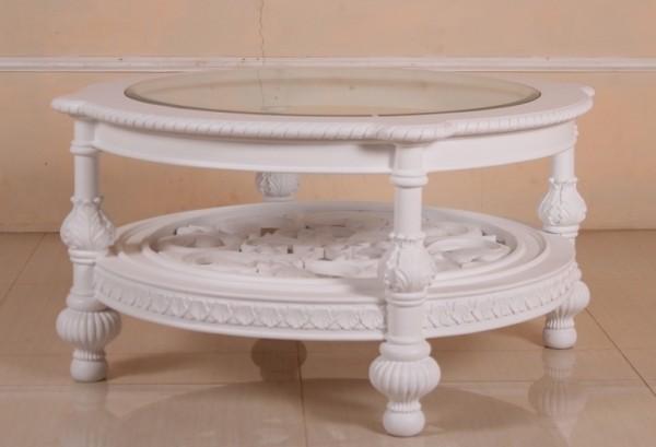 Barock Tisch Couchtisch rund, Repro-Antik-Design, Mahagoni massiv Holz aufwendige Holzschnitzerei