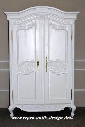 Barock Schrank Kleiderschrank 2-türig ohne Spiegel, Repro-Antik-Design, Mahagoni massiv holz, gold Beschläge,weiß lackiert,ausgefallen, mit aufwendiger Holz schnitzerei.
