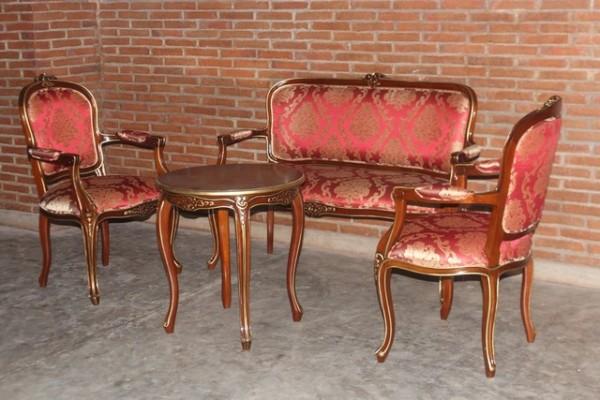 Barock Sofa Garnitur, Repro-Antik-Design, Mahagoni massiv Holz, gold rot mit Ornamenten, mit Tisch