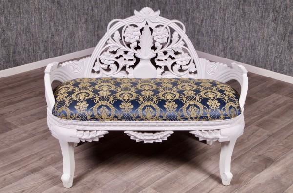 Barock Sofa Bank 2-Sitzer, Repro-Antik-Design, Mahagoni massiv holz, weiß lackiert, blau gold Ornamente Stoffbezug aufwendige Holzschnitzerei