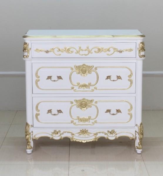 Barock Kommode Valbonne in weiß mit starkem gold Dekor | Kommoden ...