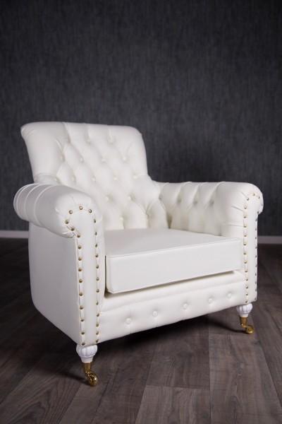 Barock Sessel Chesterfield 1-Sitzer, Repro-Antik-Design, Mahagoni massiv holz, weiß mit Goldnieten Kunstleder Bezug