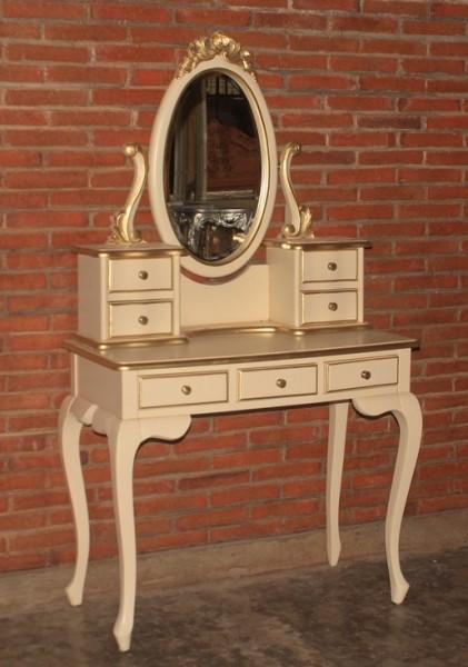Barock Schminktisch mit Spiegel, Repro-Antik-Design, Mahagoni massiv holz, weiß gold, aufwendige Holzschnitzerei, ausgefallen
