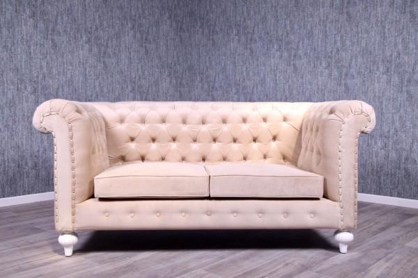 Barock Sofa 3-Sitzer, Repro-Antik-Design, Mahagoni massiv holz   mit Goldnieten