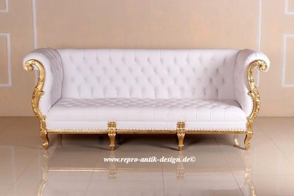 Barock Sofa Couch , Repro-Antik-Design, Mahagoni massiv holz,Blattgold, aufwendige Holzschnitzerei, Kunstle