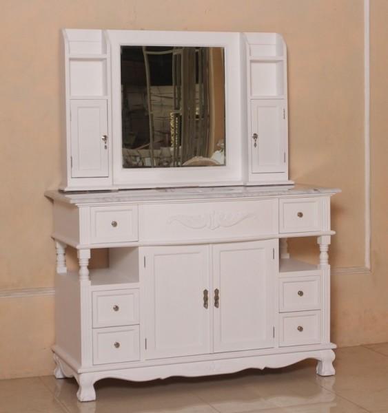Barock Waschtisch NSV 1821mit Spiegelaufbau in weiß und  Marmorplatter, Repro-Antik-Design