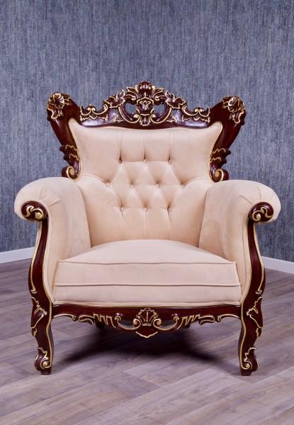 Barock Sofa Sessel Couch Polstermöbel, Repro-Antik-Design, Mahagoni Massiv Holz, Nussbraun mit gold Dekor, aufwendige Holzschnitzerei, ausgefallen,