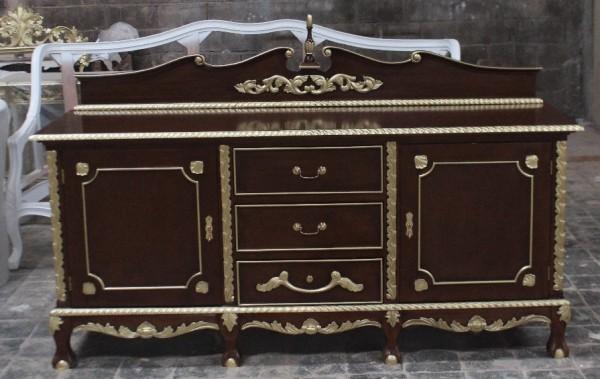 Barock Kommode, Repro-Antik-Design, Mahagoni Massiv Holz braun gold Goldgriffe Holzschnitzerei