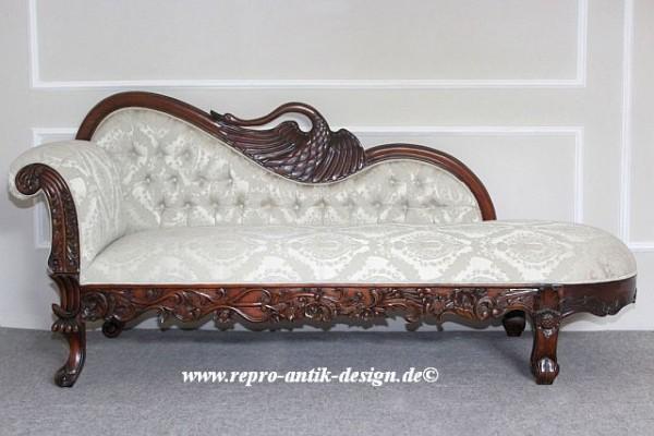 Barock Sofa Recamiere swan Schwan, Repro-Antik-Design, Mahagoni massiv Holz aufwendige Holzschnitzerei braun Stoffbezug