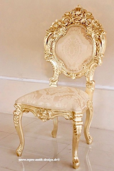 Barock Stuhl Minerva belegt mit Blattgold und creme goldenem Stoffbezug