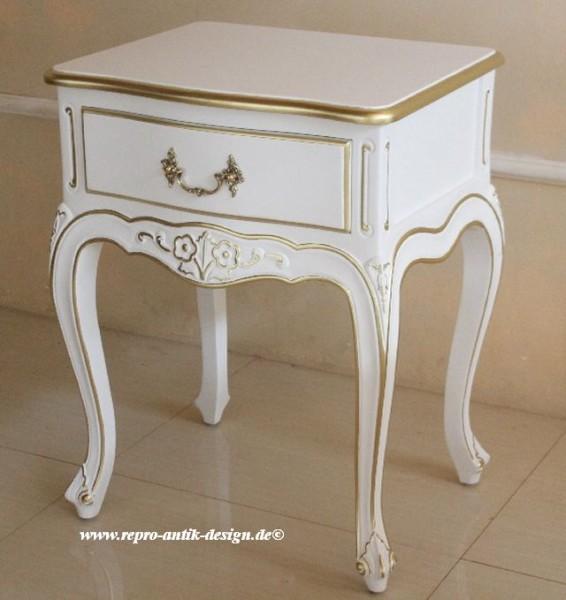 Barock Nachttisch, Repro-Antik-Design, Mahagoni Massiv Holz ausgefallen exclusive, weiß lackiert mit gold Dekor