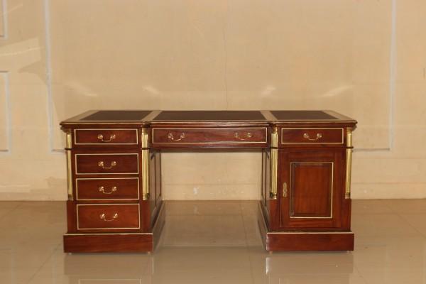 Barock Tisch Schreibtisch Partnertisch mit Schubladen und Tür, Repro-Antik-Design,Mahagoni massiv Holz Gold Dekor