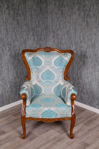 Barock Sessel Polstermöbel, Repro-Antik-Design, Mahagoni massiv Holz, Stoffbezug silber grau türkis , aufwendige Holzschnitzerei