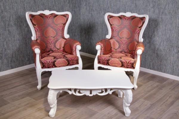 Barock Sofa Garnitur, Repro-Antik-Design, mahagoni massiv holz, weiß, ornamenten